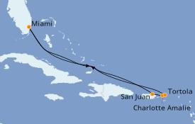 Itinéraire de la croisière Caraïbes de l'Est 8 jours à bord du Norwegian Breakaway