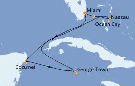 Itinéraire de la croisière Bahamas 8 jours à bord du MSC Seaside