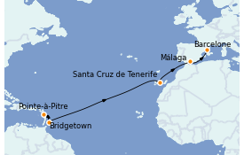 Itinéraire de la croisière Transatlantiques et Grands Voyages 2022 13 jours à bord du MSC Seaview