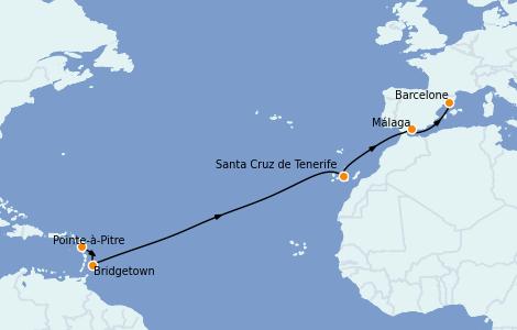 Itinéraire de la croisière Transatlantiques et Grands Voyages 2022 12 jours à bord du MSC Seaview
