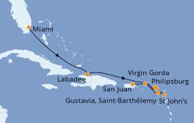 Itinéraire de la croisière Caraïbes de l'Est 10 jours à bord du Azamara Journey
