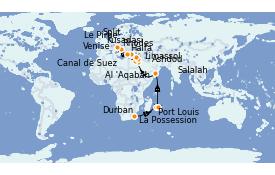 Itinéraire de la croisière Transatlantiques et Grands Voyages 2022 28 jours à bord du MSC Lirica