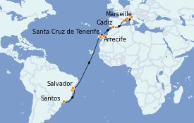 Itinéraire de la croisière Transatlantiques et Grands Voyages 2022 20 jours à bord du Costa Smeralda