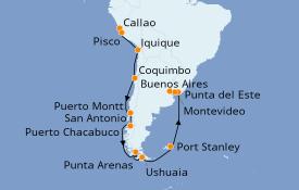 Itinéraire de la croisière Amérique du Sud 22 jours à bord du Seven Seas Mariner