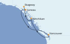 Itinéraire de la croisière Alaska 8 jours à bord du ms Nieuw Amsterdam