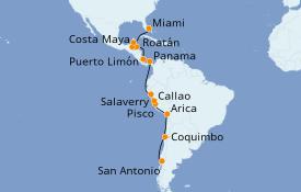 Itinéraire de la croisière Transatlantiques et Grands Voyages 2021 18 jours à bord du Norwegian Star