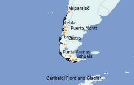 Itinéraire de la croisière Amérique du Sud 15 jours à bord du Silver Wind