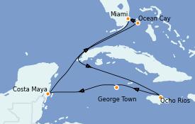 Itinéraire de la croisière Caraïbes de l'Ouest 8 jours à bord du MSC Seashore