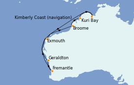 Itinéraire de la croisière Australie 2023 11 jours à bord du Coral Princess