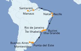 Itinéraire de la croisière Amérique du Sud 22 jours à bord du Seabourn Quest
