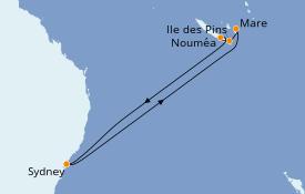 Itinéraire de la croisière Australie 2020 9 jours à bord du Carnival Splendor