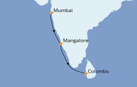 Itinéraire de la croisière Inde 9 jours à bord du Le Lapérouse