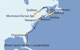 Itinéraire de la croisière Canada 15 jours à bord du ms Zaandam