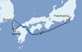 Itinéraire de la croisière Asie 6 jours à bord du Costa neoRomantica