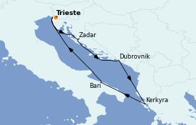 Itinéraire de la croisière Grèce & Adriatique 6 jours à bord du Costa Deliziosa