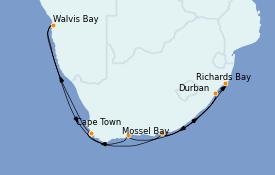 Itinéraire de la croisière Afrique 13 jours à bord du Nautica