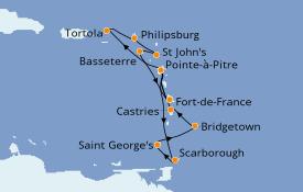Itinéraire de la croisière Caraïbes de l'Est 15 jours à bord du Costa Magica