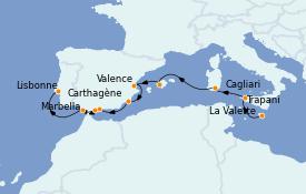 Itinéraire de la croisière Méditerranée 12 jours à bord du Le Bellot