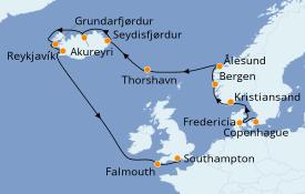 Itinéraire de la croisière Exploration polaire 15 jours à bord du Island Princess