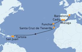 Itinéraire de la croisière Transatlantiques et Grands Voyages 2020 14 jours à bord du Norwegian Epic