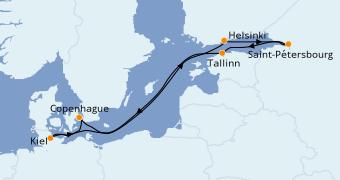 Itinéraire de la croisière Mer Baltique 8 jours à bord du MSC Virtuosa