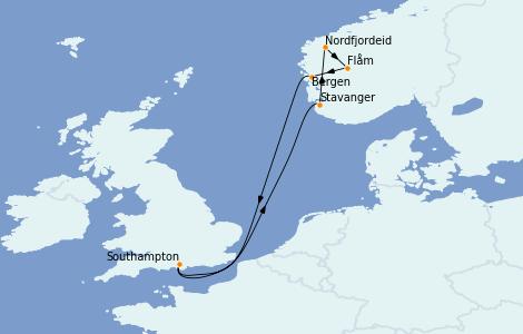 Itinéraire de la croisière Fjords & Norvège 7 jours à bord du MSC Magnifica
