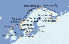 Itinéraire de la croisière Fjords & Norvège 21 jours à bord du Seven Seas Navigator