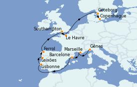 Itinerario de crucero Mediterráneo 13 días a bordo del MSC Poesia