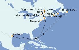 Itinéraire de la croisière Canada 11 jours à bord du MS Insignia