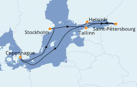 Itinéraire de la croisière Mer Baltique 9 jours à bord du Jewel of the Seas