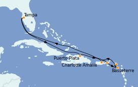 Itinéraire de la croisière Caraïbes de l'Est 11 jours à bord du Celebrity Constellation