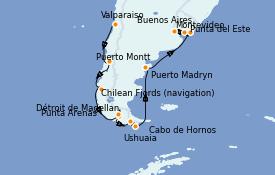 Itinéraire de la croisière Amérique du Sud 14 jours à bord du Celebrity Infinity