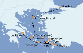 Itinéraire de la croisière Grèce & Adriatique 10 jours à bord du Le Bougainville