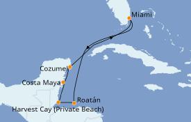 Itinéraire de la croisière Caraïbes de l'Ouest 8 jours à bord du Norwegian Escape