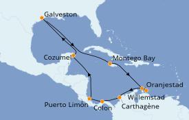 Itinéraire de la croisière Caraïbes de l'Ouest 15 jours à bord du Carnival Dream
