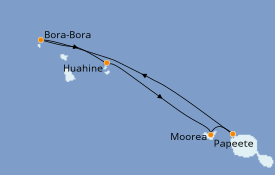 Itinéraire de la croisière Polynésie 8 jours à bord du Paul Gauguin