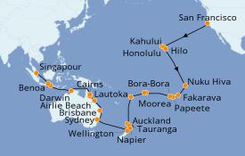 Itinéraire de la croisière Australie 2020 55 jours à bord du Seven Seas Mariner