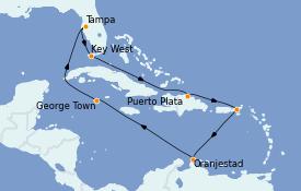 Itinerario de crucero Caribe del Este 12 días a bordo del Norwegian Dawn