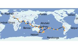 Itinéraire de la croisière Tour du Monde 2022 80 jours à bord du MSC Poesia