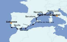 Itinéraire de la croisière Méditerranée 13 jours à bord du Nautica