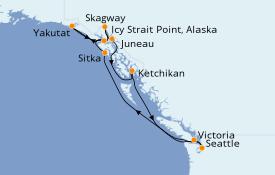 Itinéraire de la croisière Alaska 10 jours à bord du Norwegian Sun