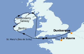 Itinerario de crucero Islas Británicas 10 días a bordo del MS World Explorer