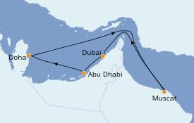 Itinéraire de la croisière Dubaï - Emirats 9 jours à bord du Costa Smeralda