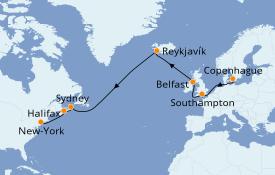 Itinéraire de la croisière Transatlantiques et Grands Voyages 2020 17 jours à bord du MSC Meraviglia