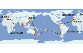 Itinéraire de la croisière Tour du Monde 2022 116 jours à bord du Costa Deliziosa