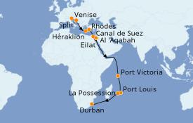Itinéraire de la croisière Transatlantiques et Grands Voyages 2020 27 jours à bord du MSC Musica