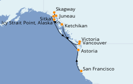 Itinerario de crucero Alaska 14 días a bordo del Seven Seas Mariner