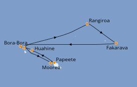 Itinéraire de la croisière Polynésie 12 jours à bord du Paul Gauguin