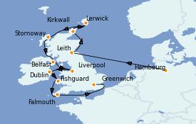 Itinéraire de la croisière Îles Britanniques 15 jours à bord du Silver Whisper