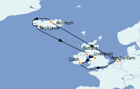 Itinéraire de la croisière Exploration polaire 13 jours à bord du Jewel of the Seas